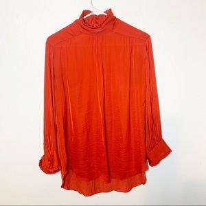 Zara Woman Red Button Up Blouse Medium
